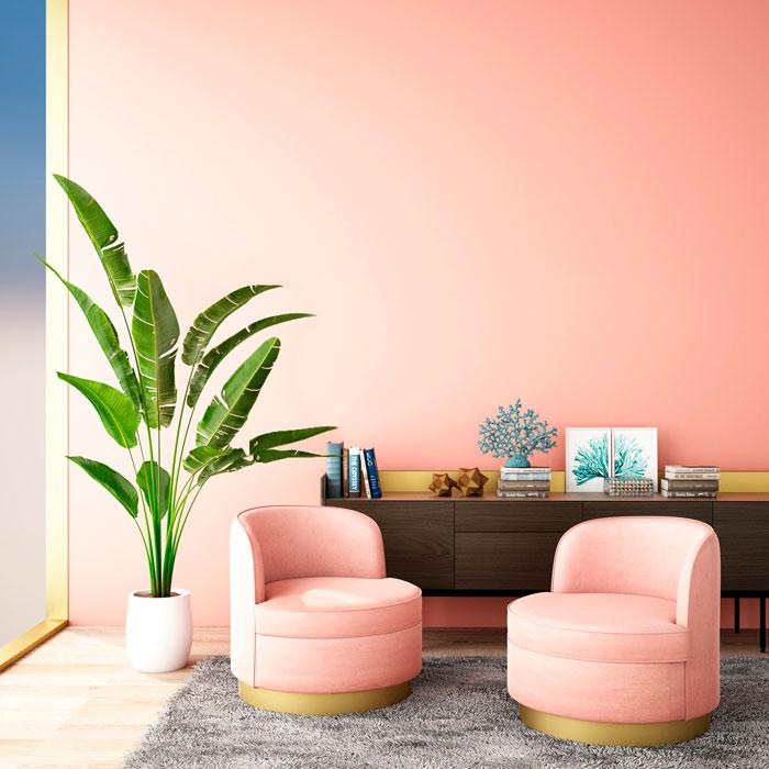 pintura rosa decoración con palmeras