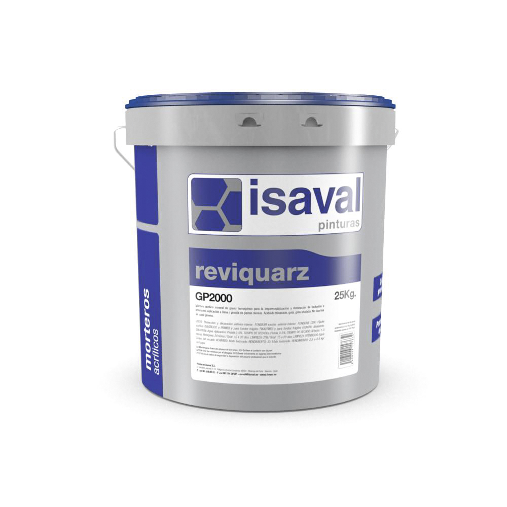 Reviquarz GP 2000 Mortero acrílico cuarzo coloreado. Pinturas Isaval