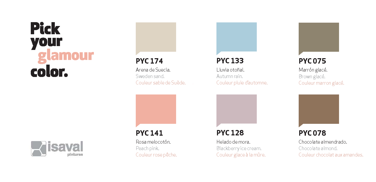Combinación colores velvet collection PYC Isaval pinturas