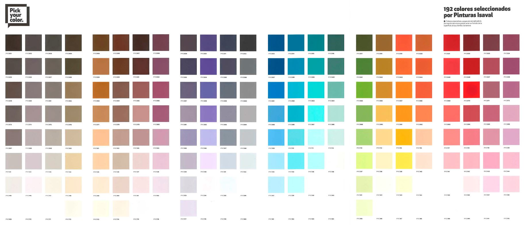 Carta PYC Pick Your Color Pinturas Isaval