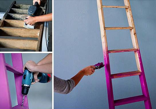 Vestidor diy reciclando una escalera de pintor isaval - Escalera de pintor de madera ...