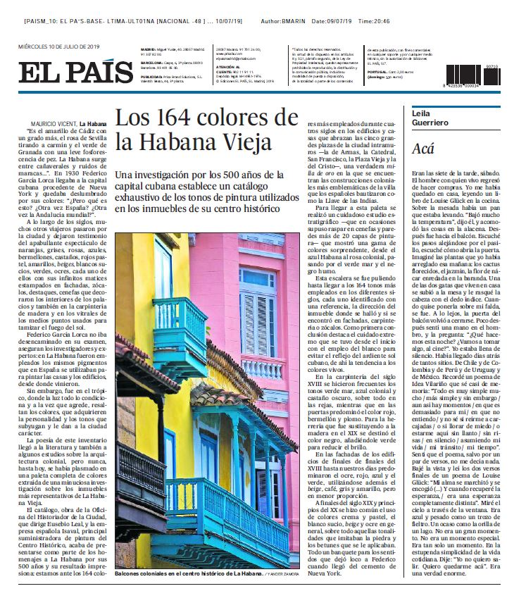 El país, los colores de la habana vieja Pinturas Isaval Carta 164 colores